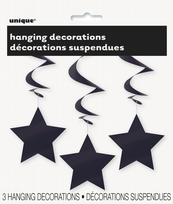 Black Solid Star Hanging Decorations (3)